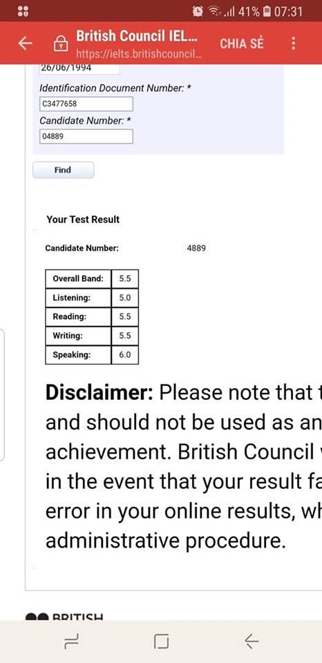 Điểm thi ielts 5.0 của Phương Anh